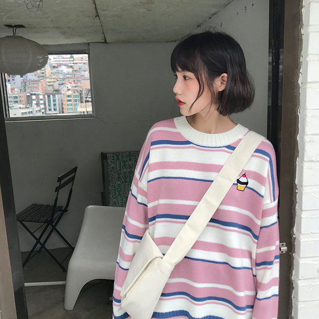 Kawaii Striped Acrylic Sweater