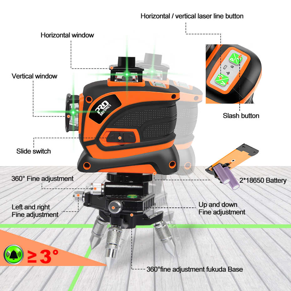 with Manual and Automatic Mode WESCO 2X 360  Green line Laser ...