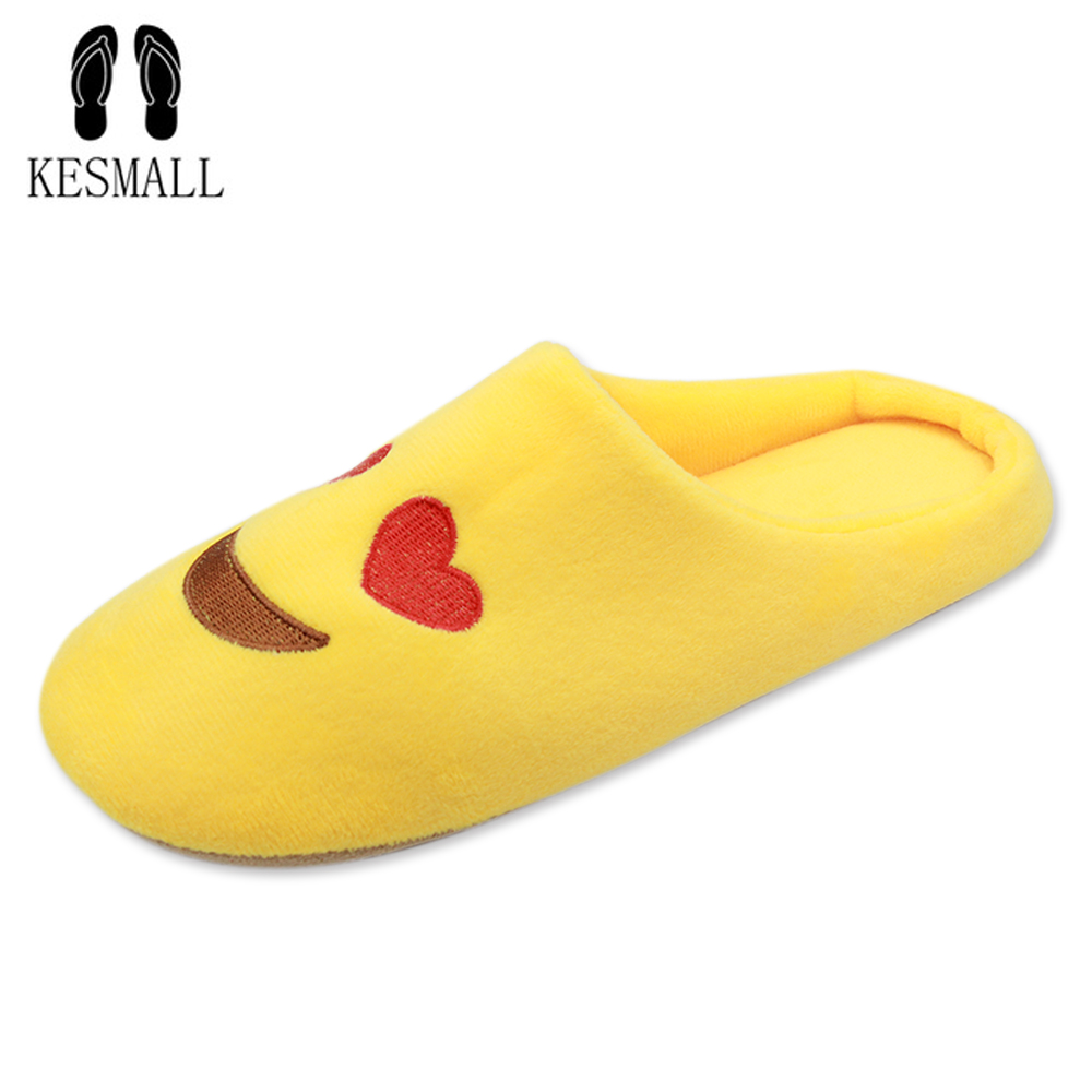 Women Soft Velvet Indoor Floor Expression Slippers Cute Emoji House Shoes Soft Bottom Winter Warm Shoes For Bedroom WS315 kesmall soft plush cotton cute slippers shoes non slip floor indoor house home furry slippers women shoes for bedroom ws330