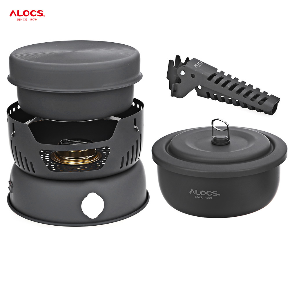 ALOCS CW-C05 10pcs Camping Cook Set Portable 2-4 Person Outdoor Hiking Picnic BBQ Cookware Bowl Set with Pan Gripper Pot Stove alocs cw k05 handy portable outdoor cooker pan pot w whisle lid deep grey green