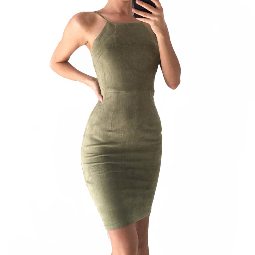 Nadafair Sleeveless Backless Sexy Club Bodycon Dress 2017 New Casual Solid Cross Women Party Dress Red Black Khaki Army green