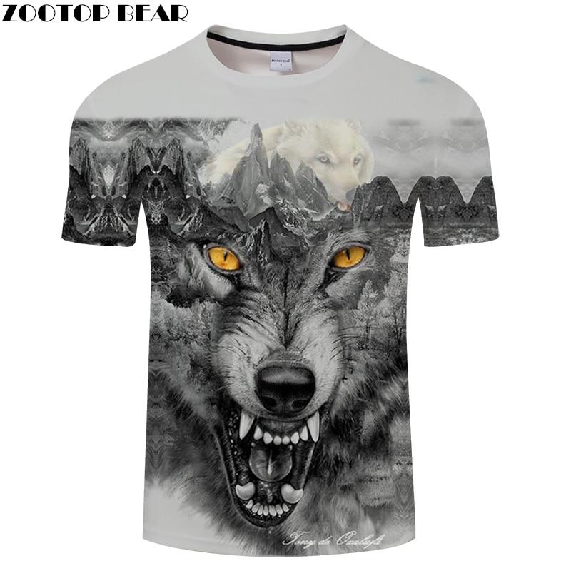 Funny Wolf tshirts Men 3D t shirt Harajuku T-shirt Anime Tee Print Top Summer Camiseta Short Sleeve O-neck Drop ship ZOOTOPBEAR