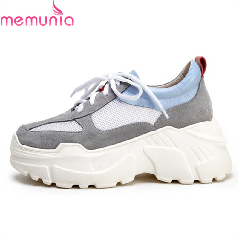 MEMUNIA 2019 new fashion sneakers women   suede     leather   lace up shoes mesh comfortable casual flat platform shoes woman