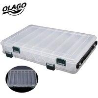 Olago рыболовные снасти двухсторонние Пластиковые Коробка для рыболовных приманок 27*18*4,7 см 14 отсеков рыболовные аксессуары ящик для рыболовн...