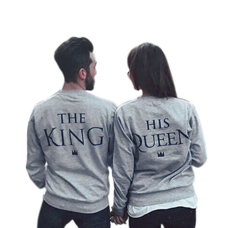 Spring Couples Lovers Sweatshirts Print KING QUEEN Long Sleeve Hoodies Men&Women Pullovers Stylish