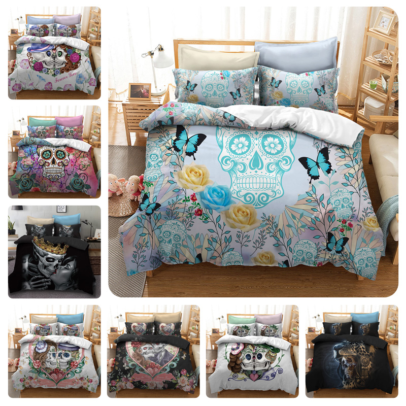 Colorful Human Skeleton Black Skull Death's head Design Bedding Set Queen Bed Sheet Set Duvet Cover Set