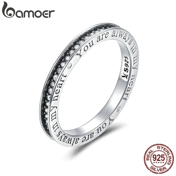 BAMOER, 925 пробы, серебро, вы всегда в моем сердце, с надписью, Pave CZ, кольца на палец для женщин, свадебные, обручальные ювелирные изделия SCR159