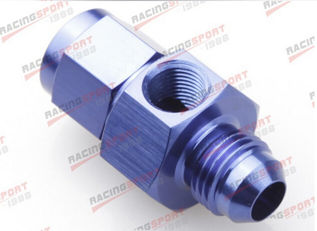 """10AN AN10 Male To 10AN Female With 1//8/"""" NPT Gauge Port Adapter Fuel Blue"""