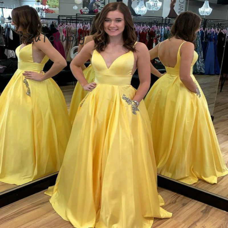 Glamorous Yellow Evening Dress With Pockets A Line V Neck Spaghetti Strap Sexy Backless Long Prom Dress 2019 Summer Holiday Gown