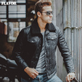 S-6XL Men's pigskin fur collar real leather jacket Genuine Leather warm jacket motorcycle coat men