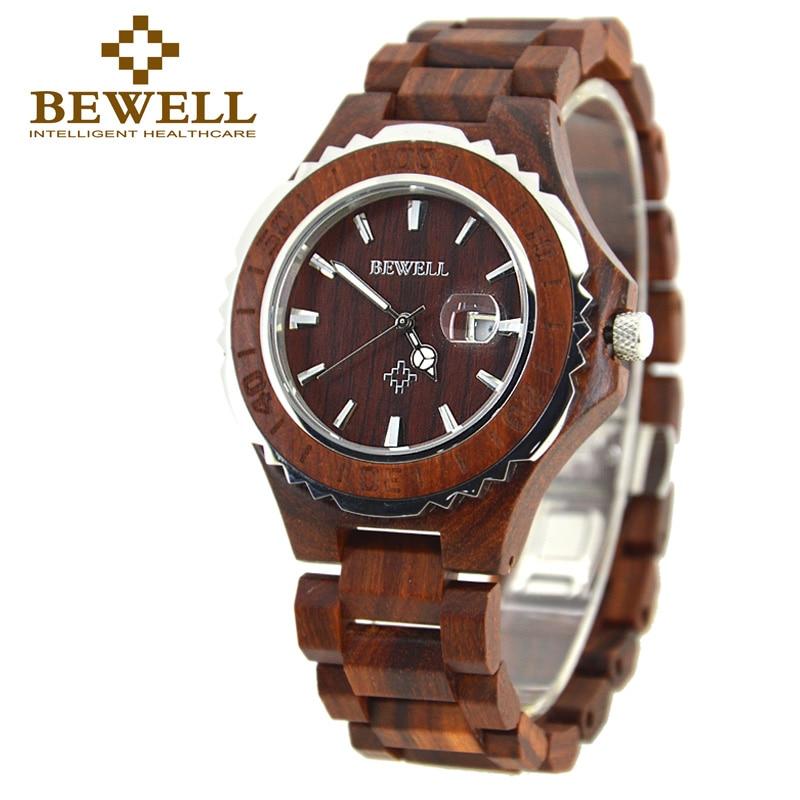 BEWELL Quartz Wooden Watch 3Bar Waterproof Calendar Man Watch and Luminous Pointers Natural Sandalwood Watches Relogio 100BG все цены