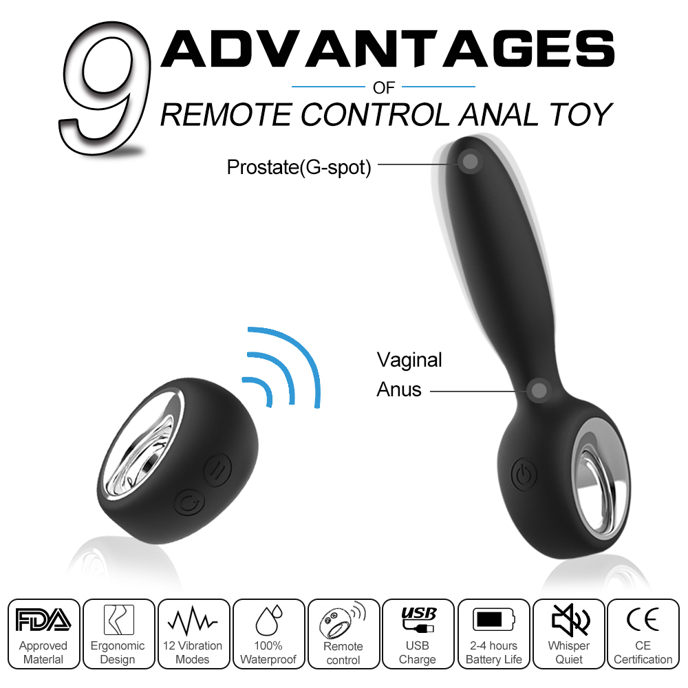 Remote Control Anal 12 Speed Poweful G Spot Vibrator WirelessProstate Massager Adult Sex Toys for men/women