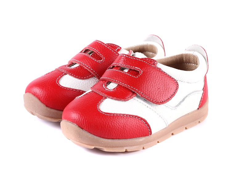 SandQ baby Boys sneakers soccers shoes girls sneakers Children leather shoes pink red black navy genuine leather flexible sole 12
