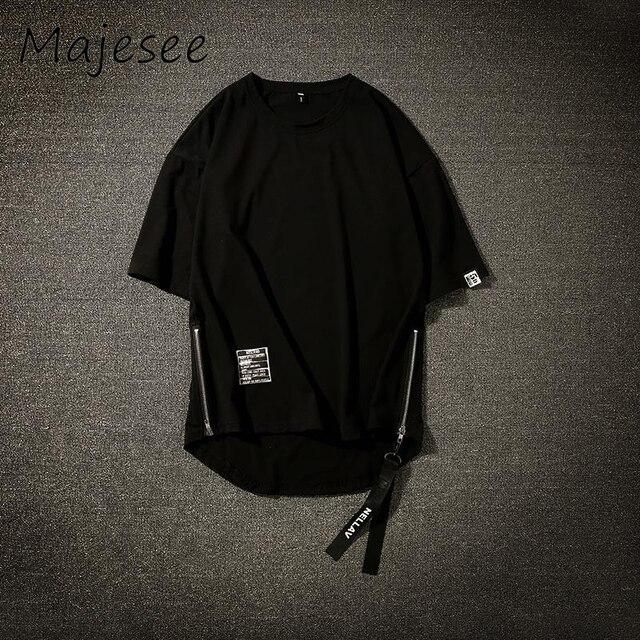 原宿男性 5 分袖 Tシャツ BF ヒップホップ夏メンズ Tシャツシックな韓国風薄型通気性トップス男性ジッパー