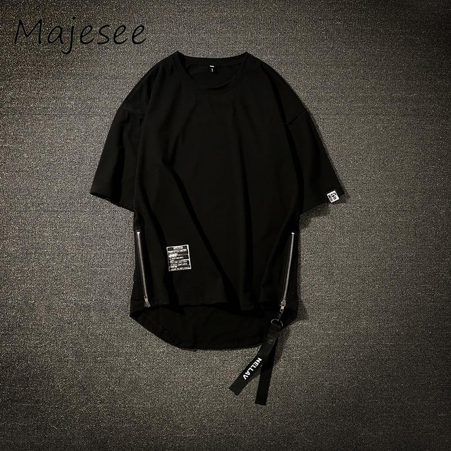 Harajuku Men 5 Quarter Sleeve T-shirts BF Hip-hop Summer Mens T-shirt Chic Korean Style Thin Breathable Tops Loose Male Zipper