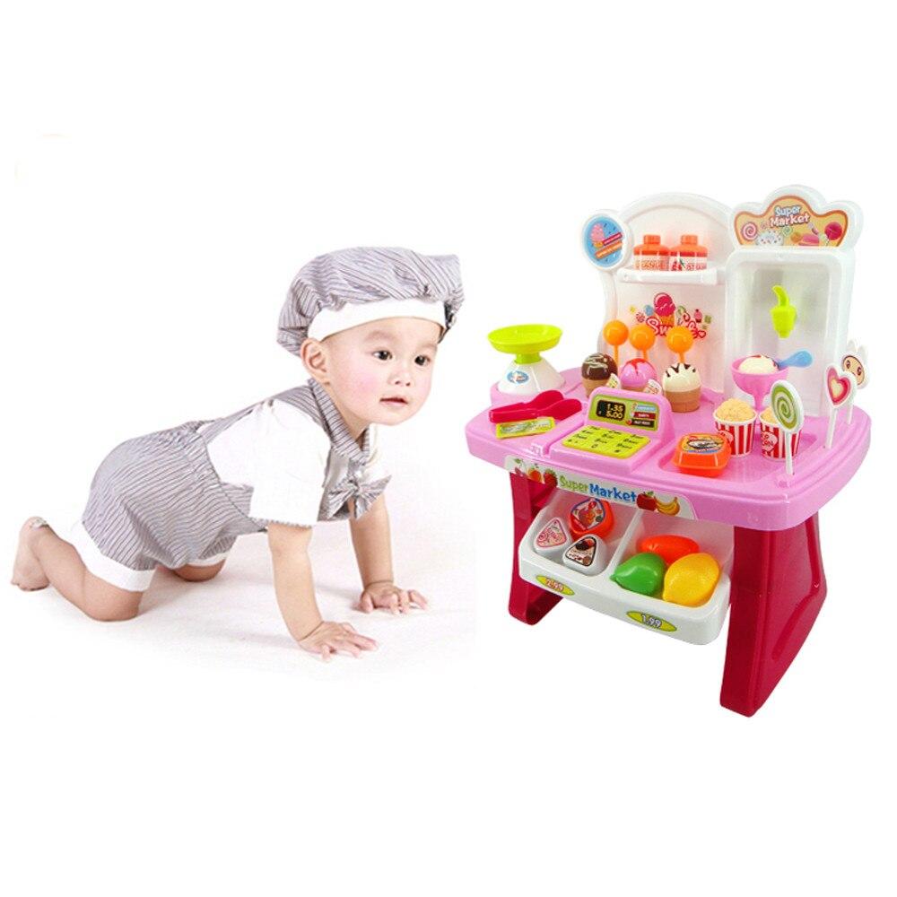 Hiinst kids kitchen toys 2017 34pcs Pretend Play Mini Supermarket Cash Register Shopping Cart Toys Set Gift *R