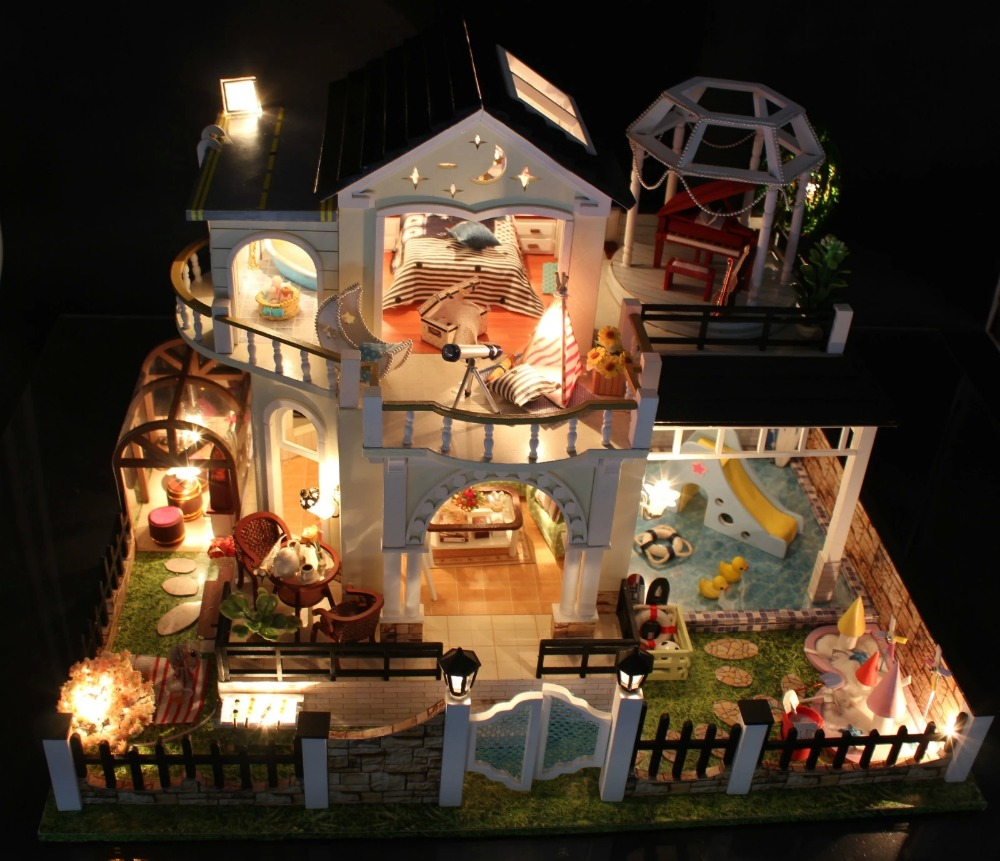 Awesome Perfect Hour Large DIY Wood Doll House Euro Style 3D Miniature  Lights+Furnitures Building Model Homeu0026Store Decoration Adult Toy In Doll  Houses From Toys ...