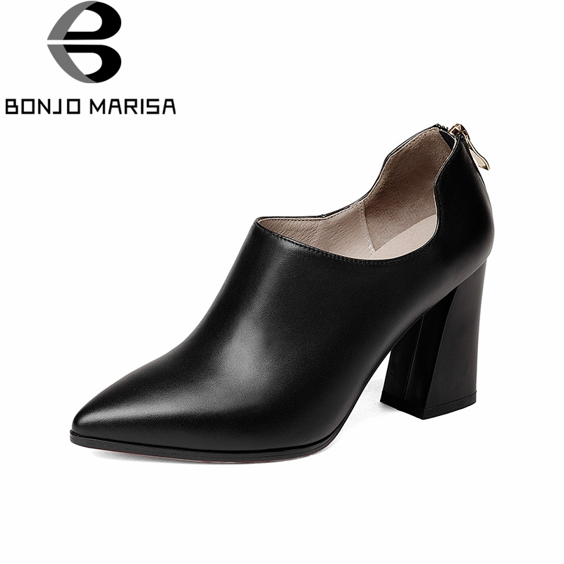 BONJOMARISA 2018 Spring Autumn Fashion Elegant Cow Leather Women Deep Pumps Zip High Hoof Heels Ol Shoes Woman Black Lady Work siketu 2017 free shipping spring and autumn women shoes fashion sex high heels shoes red wedding shoes pumps g107
