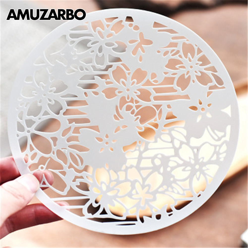 1PCS Creative Plant Flower Round Painting Template Ruler Drawing For DIY Scrapbooking  Card Album Spray Painting Art Stencils
