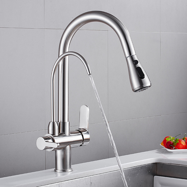 Black kitchen faucets mounted plus hot cold water filter faucet for kitchen