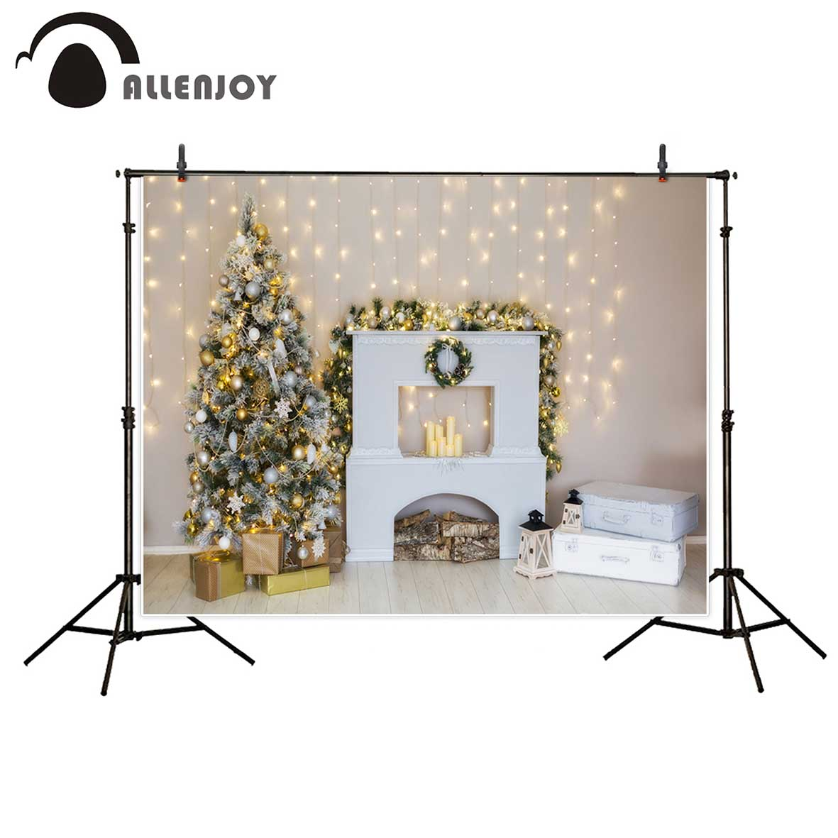 Allenjoy photo backdrops Christmas tree glitter indoor stove family party background photo printer fantasy props for kids family photo