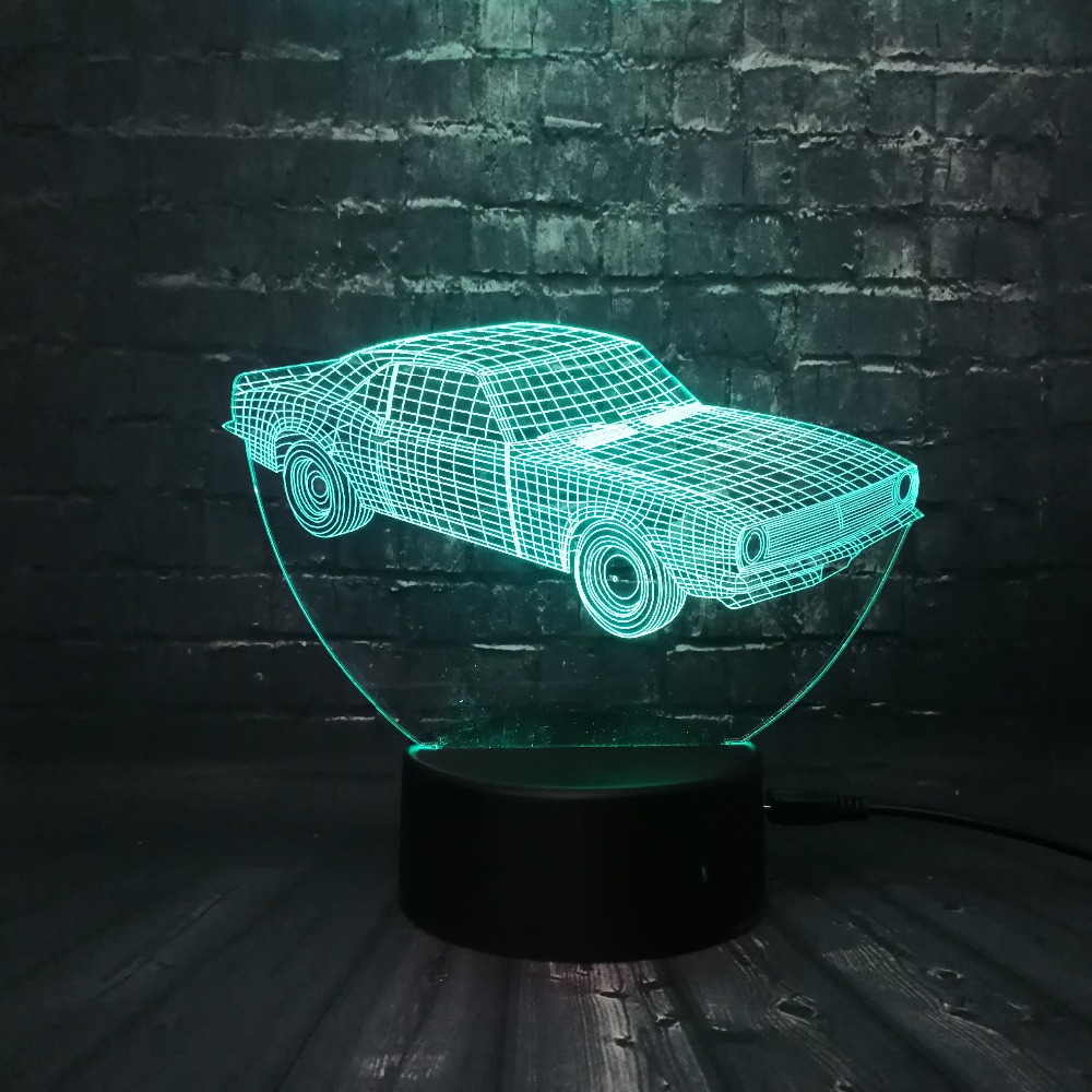 Hot SALE Cuba Retro Animation Cool Car 3D USB LED Lamp Car-Styling - Night Lights - Photo 5