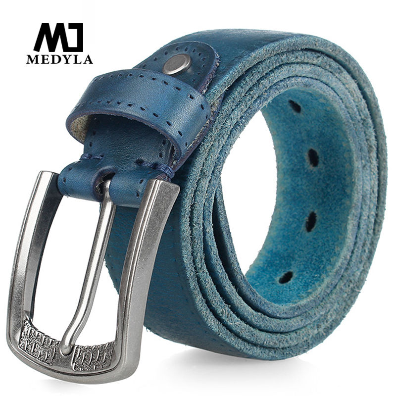 MEDYLA Fashion Brand Men's Genuine Leather Belt High-Quality Alloy Buckle Casual Retro Brown Long Belts 105cm To 150cm MD533
