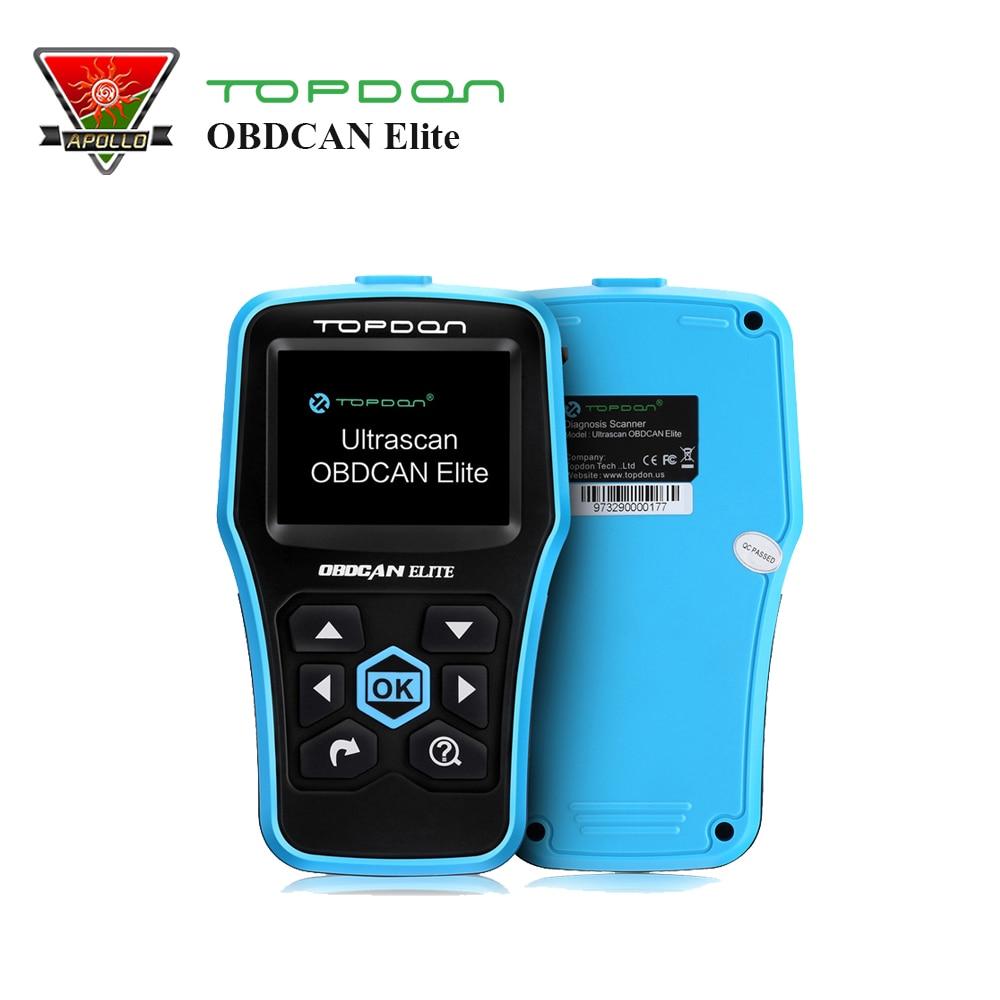 Topdon OBDII EOBD Code Reader OBDCAN Elite ABS/SRS Auto Diagnostic Scanner Airbag Scanner for Autel AutoLink AL619 ms310 2 lcd obdii eobd code reader auto diagnostic scanner