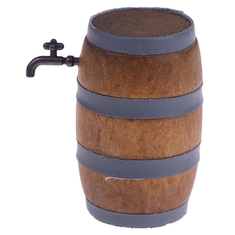 1:12 Dollhouse Miniature Set In Wooden Barrel Sheath Home Kitchen Decor Gifts