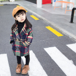 Image 4 - Anlencool 2020 New Spring Girls coat 1 5 years old female baby plaid wool coat kids fur coat  baby girl coat lattice clothing