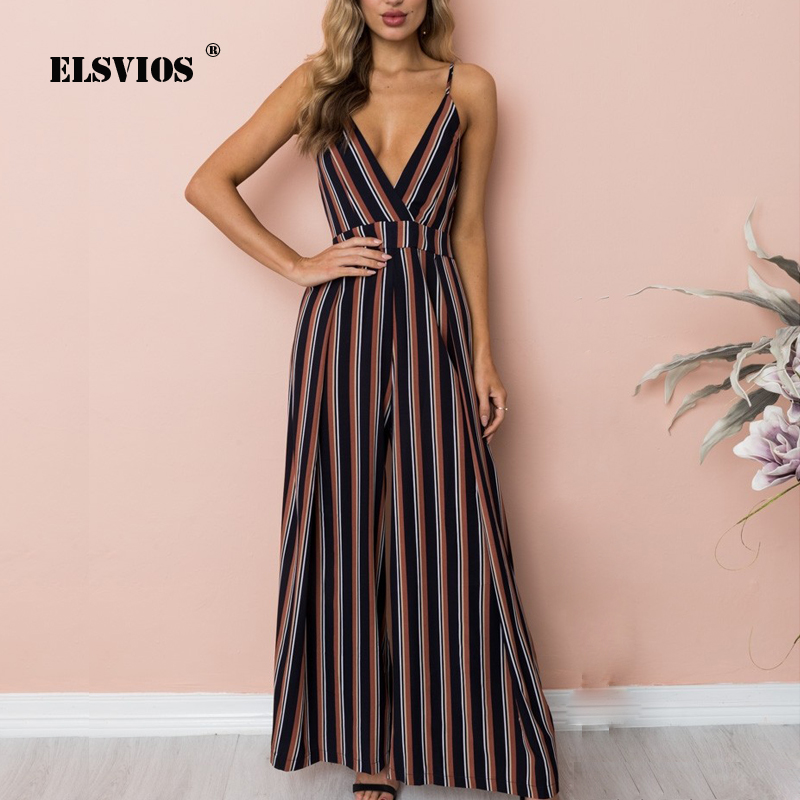 ELSVIOS Sexy Backless Striped Bow Tie jumpsuit Summer Strap V-neck Rompers Casual Sleeve ...