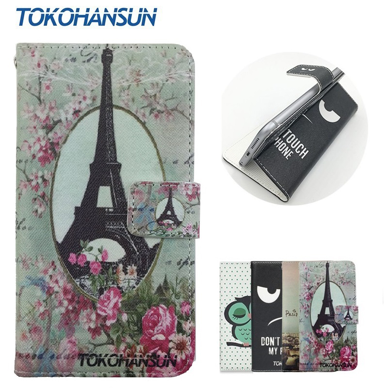 For Senseit A109 Case Skin Luxury Flip Wallet Cover Pouch PU Leather Cartoon Painting Cases TOKOHANSUN Brand ...