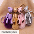 Real fluffy fur Bear pom pom keychain fox ball key chain ys-01 handbag living keychains