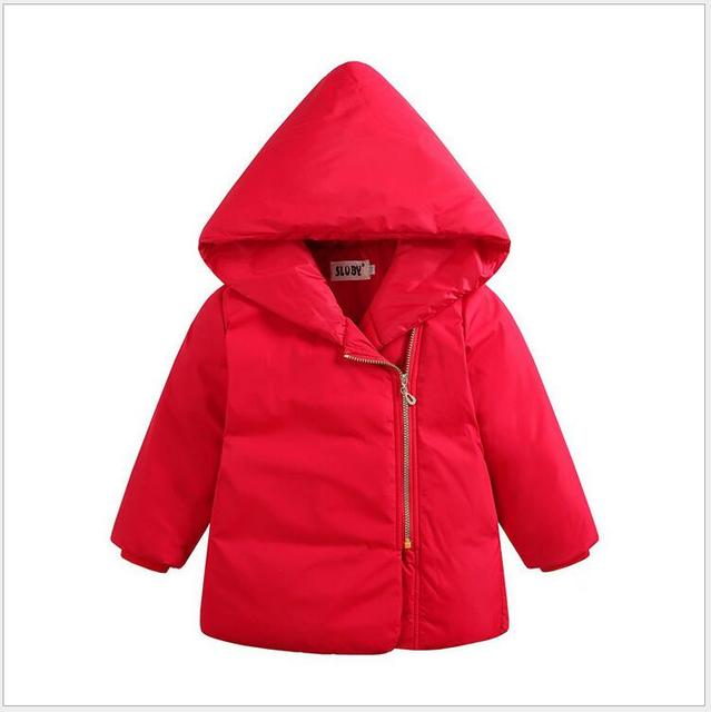4 Color Autumn Winter Kids Warm Down Jackets Children Clothing Kids Baby Boys Girls Coat Solid Hooded Outerwear Duck Down Jacket