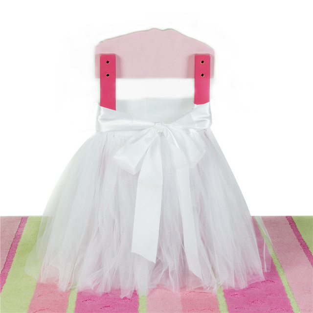 4pc/set Sweet Skirt Shape Chair Cover Handmade Tulle Tutu Party Banquet  Chair Cover With