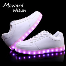 Good Quality USB LED Shoes with Light Up Sport Flash Trainers Luminous Glowing Sneakers with Light