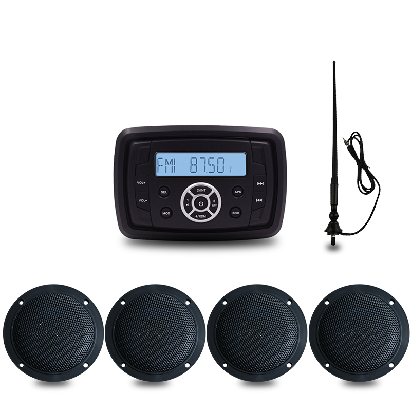Морской Водонепроницаемый стерео Лодка аудио Bluetooth Радио FM AM USB MP3 плеер для мото Авто ATV UTV 2 пары 4 Динамик + антенна