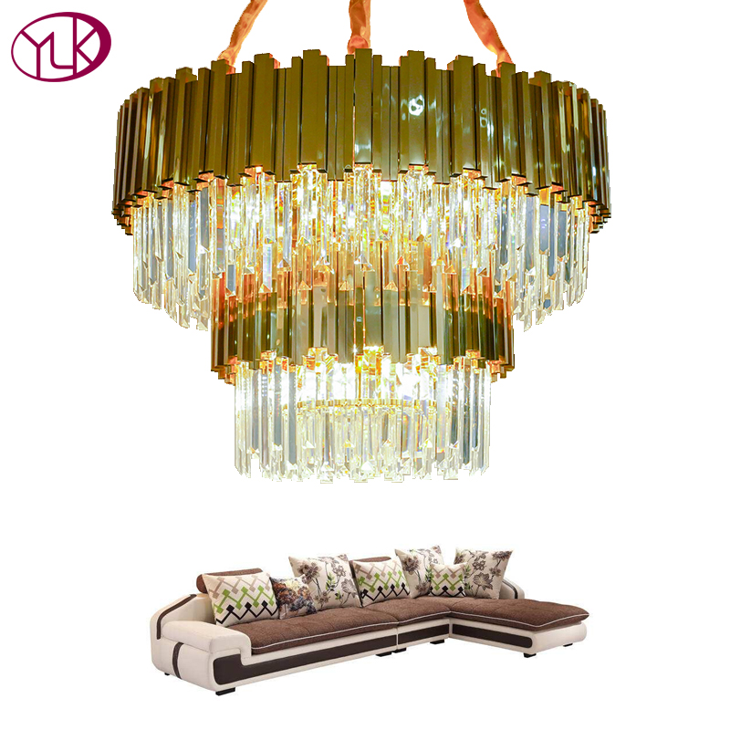 Youlaike Luxury Modern Chandelier Lighting Double Layer Crystal Lamp For Living Room Gold Polished Steel LED Cristal Lustre luxury crystal chandelier lighting for living room ceiling modern led gold crystal chandelier remote control rgb lustre cristal