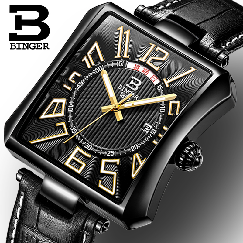 Business Men Watch Men Waterproof Leather Rectangle Quartz Wristwatch Male Clock Relogio Masculino BINGER BrandBusiness Men Watch Men Waterproof Leather Rectangle Quartz Wristwatch Male Clock Relogio Masculino BINGER Brand