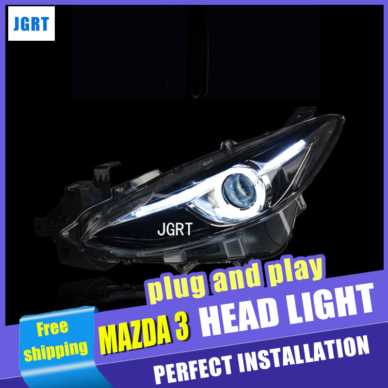Car Styling Head Lamp for Mazda 3 led headlights 2014-2016 New Mazda3 Angel eye led drl H7 hid Bi-Xenon Lens low beam auto clud style led head lamp for benz w163 ml320 ml280 ml350 ml430 led headlights signal led drl hid bi xenon lens low beam