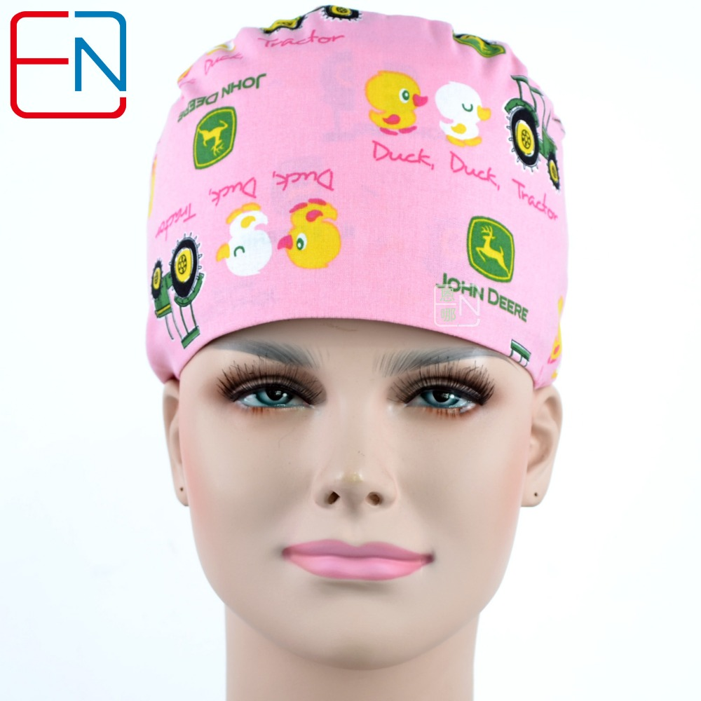 Long Hair Surgical Caps With Sweatband Doctors And Nurses 100% Cotton Scrub Caps In Pink