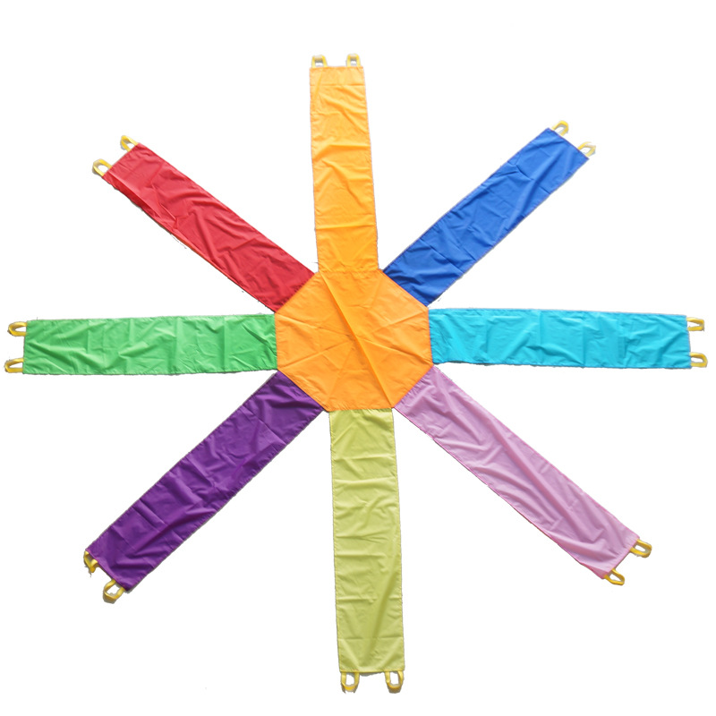 Octagonal fun game umbrella outdoor toys Early Education kindergarten Sense training Rainbow Umbrella team game