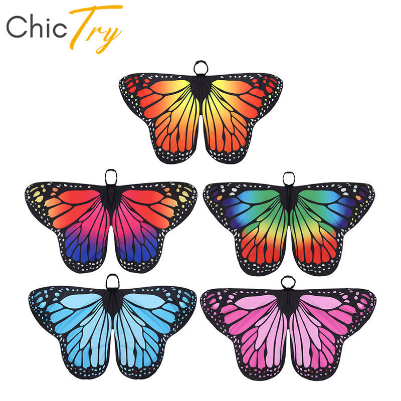 ChicTry Kids Girls Butterfly Wings Cape Children Halloween Party Cosplay Fairy Dress Up Dance Performance Costume Accessories