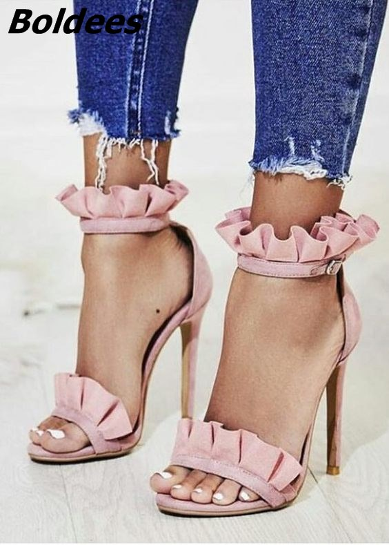 Fashion Designer Pink Thin High Heeled Sandals Woman Trendy Ruffle Buckle Stiletto Heels Dress Shoes Sandals