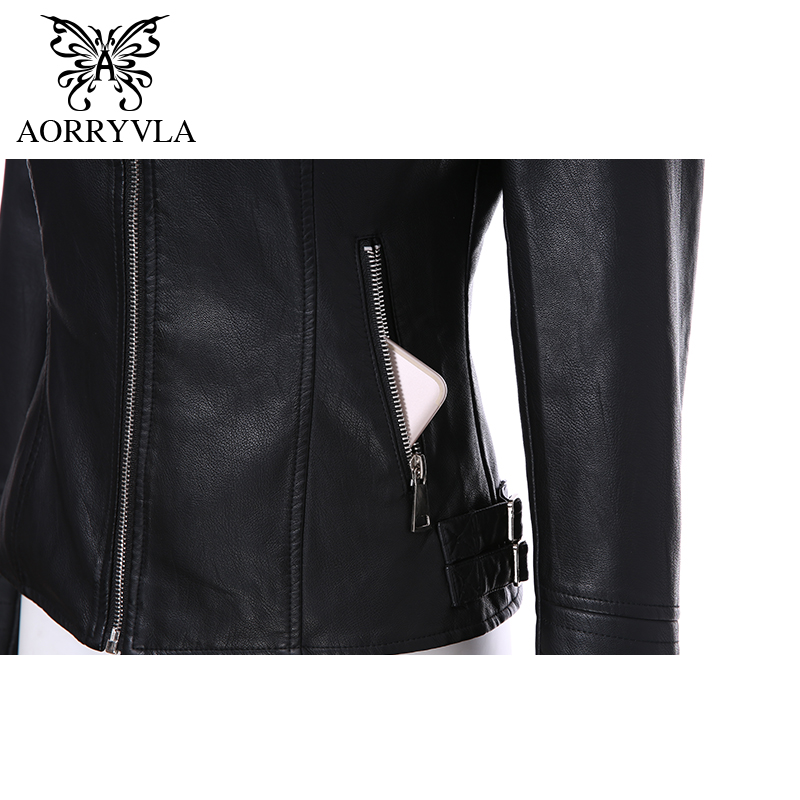 AORRYVLA 2019 Brand Women's Leather Jacket Motorcycle Black PU Leather Jacket Short Length Slim Faux Leather Coats New Arrival