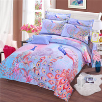 2017 Classic Bedding 100 Cotton 1000TC Luxury 3D Peacock Pattern Quilt Comforter Cover 3D Bedding Set
