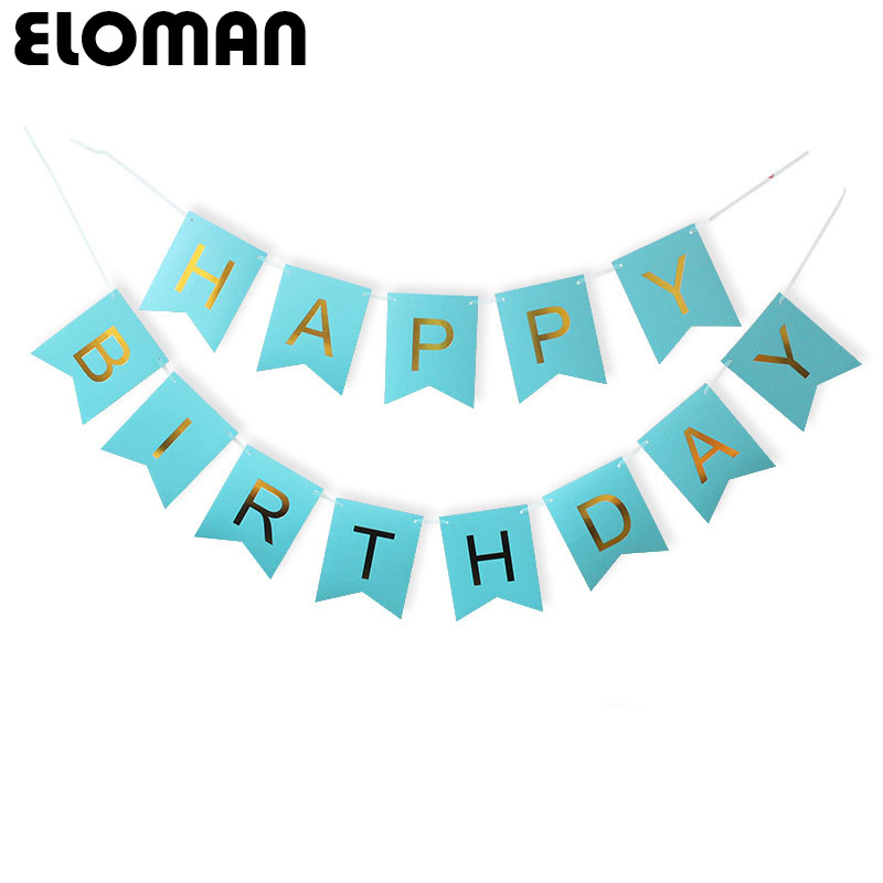 ELOMAN HAPPY BIRTHDAY paper hanging flag decorations baby shower bithday party backdrop banner
