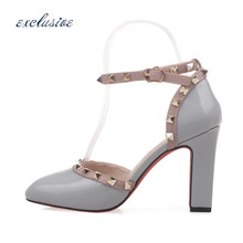 Square Heel Rivets 9 cm Sexy Round Toe Shoes Buckle Strap Light Gray White Red Pumps Patent Leather Large Size 33cm-43cm Party
