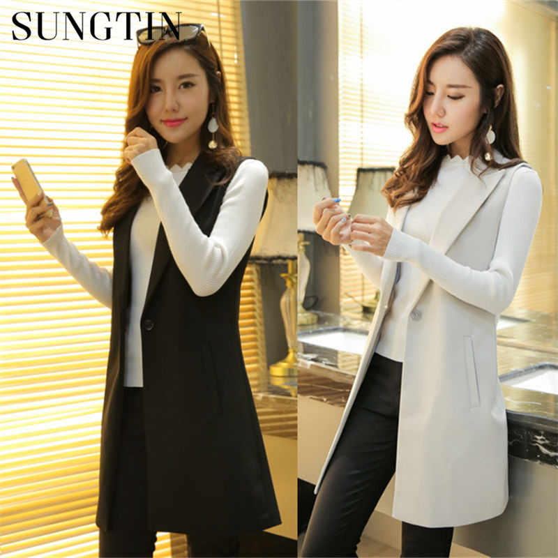 Sungtin Classic Women Long Blazer Vest Elegant Office Lady Coat Female Waistcoat Causal Suits Sleeveless Jacket Plus Size