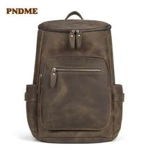 PNDME retro crazy horse leather mens backpack large capacity genuine casual bag pack simple  travel laptop bookbag